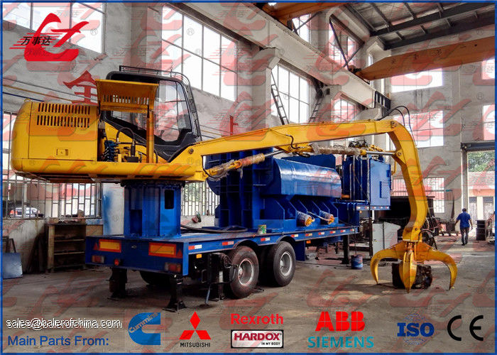 Mobile Baler Logger Portable Scrap Metal Baler Trailer Mounted And Grab Full Automatic Control